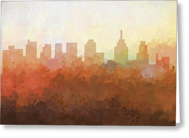 Greeting Card featuring the digital art Philadelphia Pennsylvania Skyline by Marlene Watson