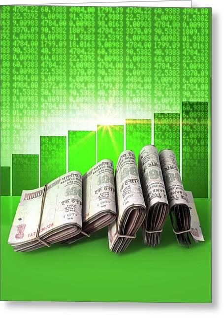 Positive Market Money Greeting Card by Allan Swart