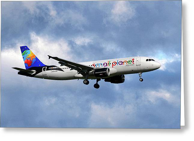Small Planet Airlines Airbus A320-214 Greeting Card