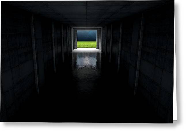 Sports Stadium Tunnel Greeting Card by Allan Swart
