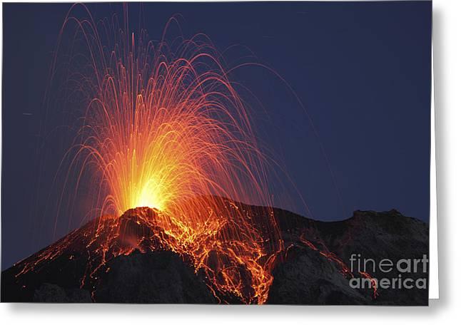 Stromboli Eruption, Aeolian Islands Greeting Card by Martin Rietze