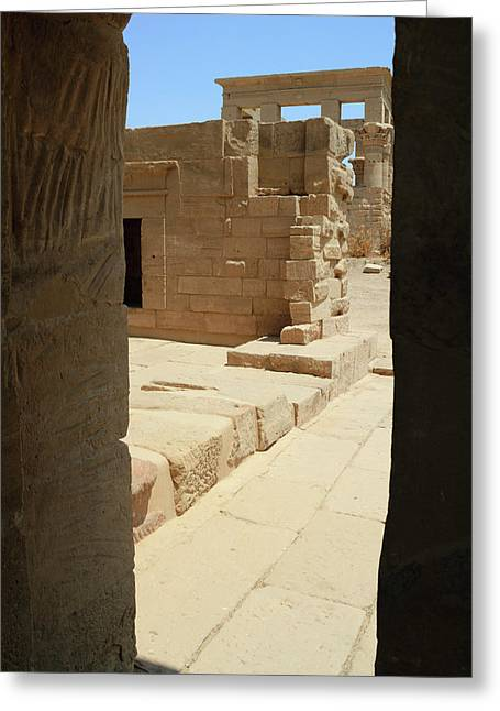 Greeting Card featuring the photograph temple of Isis by Silvia Bruno