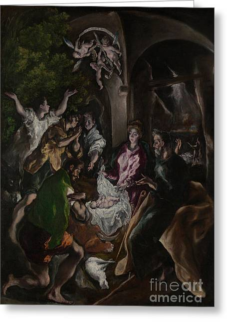 The Adoration Of The Shepherds Greeting Card by El Greco