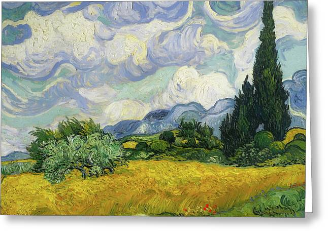 Greeting Card featuring the painting Wheat Field With Cypresses by Vincent van Gogh