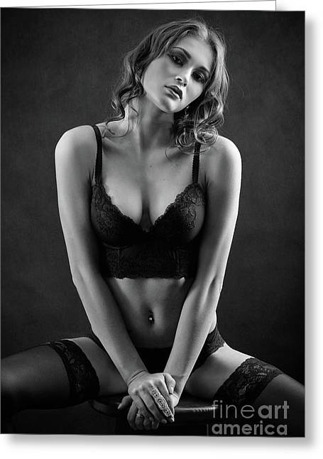 Woman In Lingerie Greeting Card by Aleksey Tugolukov