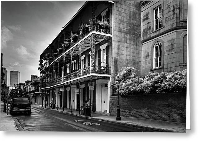 910 Royal Street In Black And White Greeting Card by Greg and Chrystal Mimbs