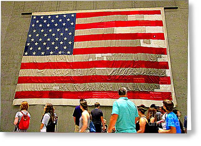 911 Flag Greeting Card by Randall Weidner