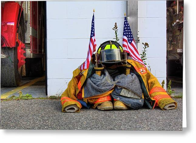 Greeting Card featuring the photograph 911 Tribute IIi by Greg DeBeck