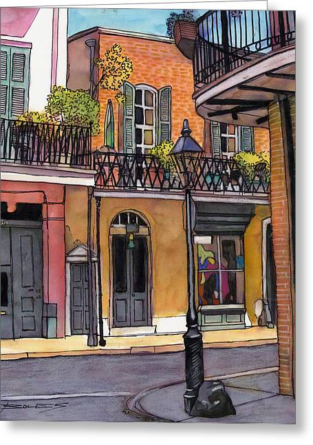 94  French Quarter Sunday Morning Greeting Card by John Boles