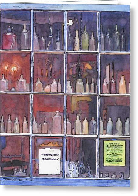 95   French Quarter Window With Bottles Greeting Card by John Boles