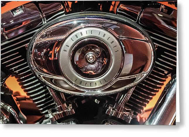 Greeting Card featuring the photograph 96 Cubic Inches Softail by Randy Scherkenbach