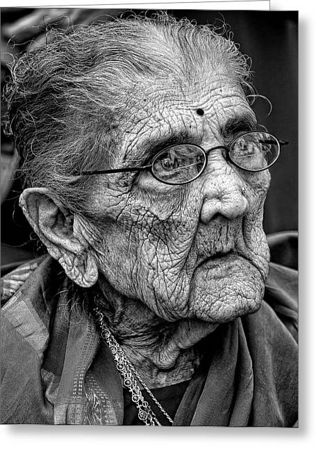 Elderly Photographs Greeting Cards - 96 Year Old Indian Woman India Day Parade NYC 2011 2 Greeting Card by Robert Ullmann