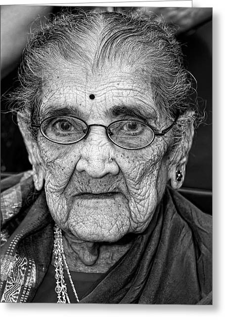 Elderly Photographs Greeting Cards - 96 Year Old Indian Woman India Day Parade NYC 2011 Greeting Card by Robert Ullmann