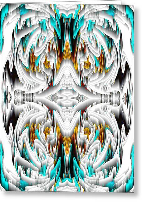Greeting Card featuring the digital art 992.042212mirror2ornategoldablue-1 by Kris Haas