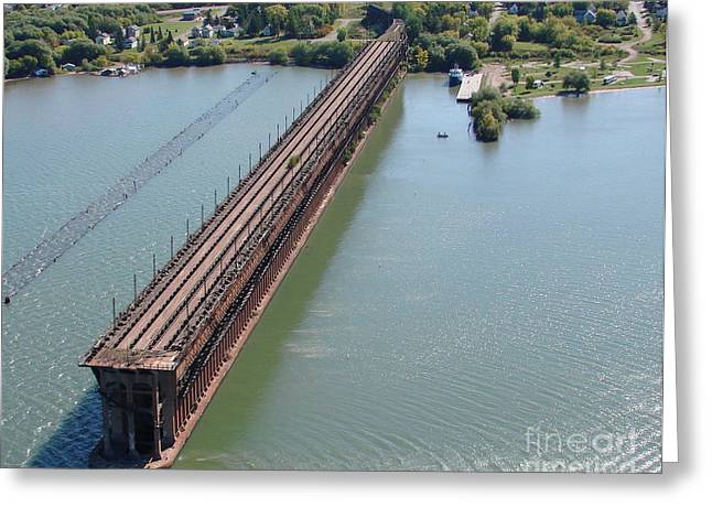 Greeting Card featuring the photograph A-010 Ashland Wisconsin Ore Dock by Bill Lang
