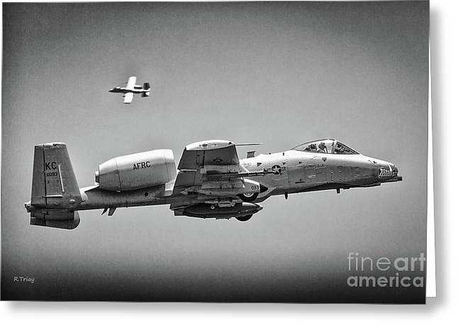 A-10 Thunderbolt II Maneuvers Bw Greeting Card