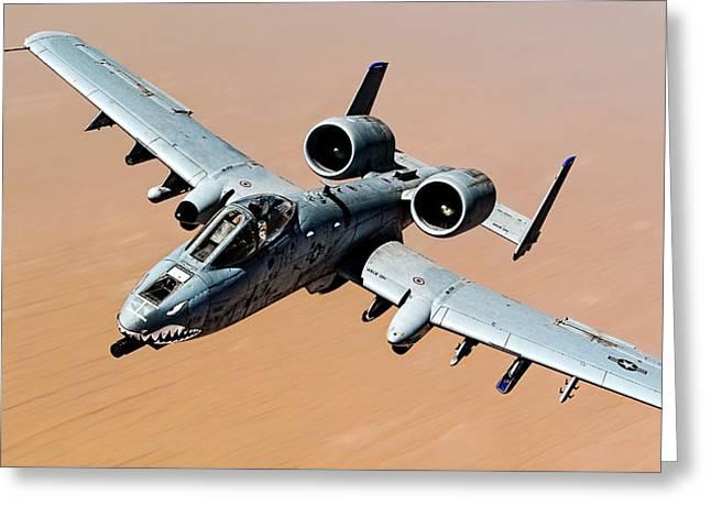 A-10 Thunderbolt II Over The Desert Greeting Card
