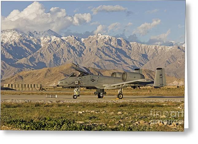 A-10 Warthog At Bagram Greeting Card by Tim Grams