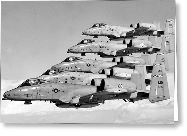 A-10 Warthogs Flying In Formation Greeting Card by War Is Hell Store