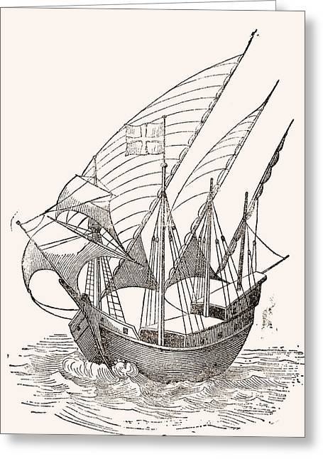 A 15th Century Caravel. From El Museo Greeting Card by Vintage Design Pics