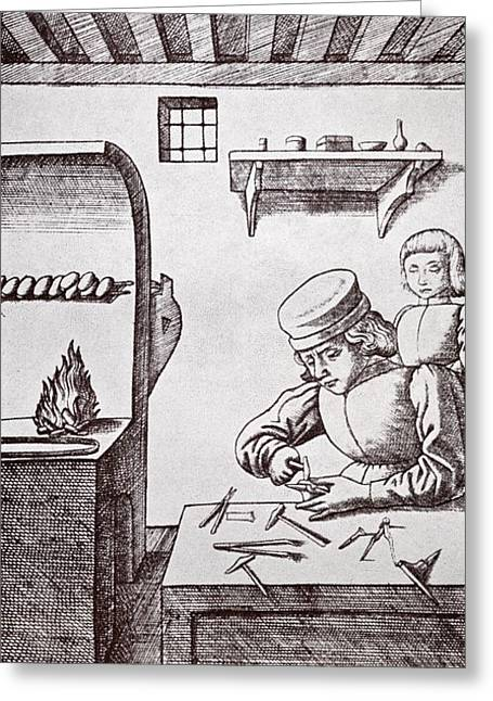 A 15th Century Locksmith Or Goldsmith Greeting Card