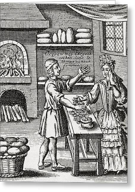 A 16th Century Baker S Shop. From Greeting Card by Vintage Design Pics