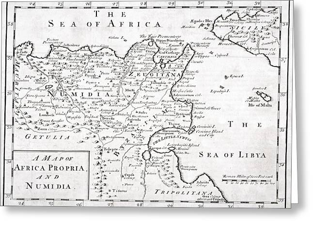A 19th Century Map Of Africa Propria Greeting Card by Vintage Design Pics