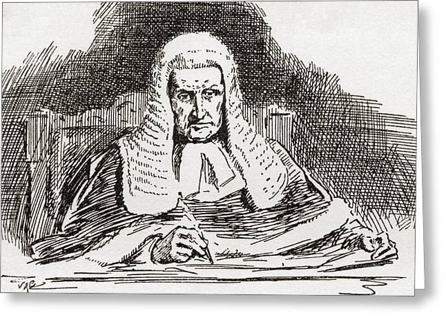 A 19th Century Old Bailey Judge. From Greeting Card by Vintage Design Pics
