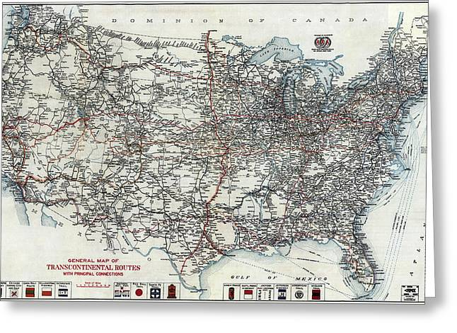A A A United States Road Map 1912 Greeting Card