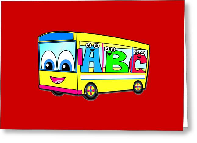 A B C Bus T-shirt Greeting Card by Herb Strobino