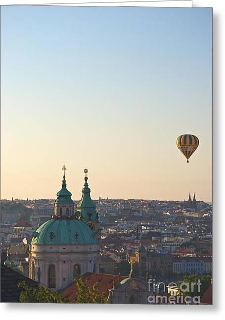 A Balloon Over Prague Greeting Card by Hideaki Sakurai