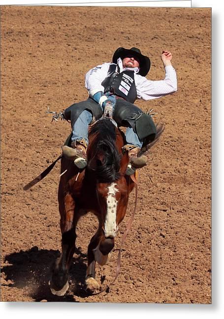 A Bareback Rider Aboard A Bronco, Tucson, Arizona Greeting Card
