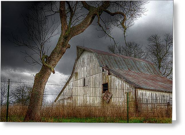 A Barn In The Storm 2 Greeting Card by Karen McKenzie McAdoo