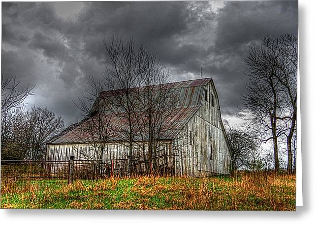 A Barn In The Storm 3 Greeting Card by Karen McKenzie McAdoo