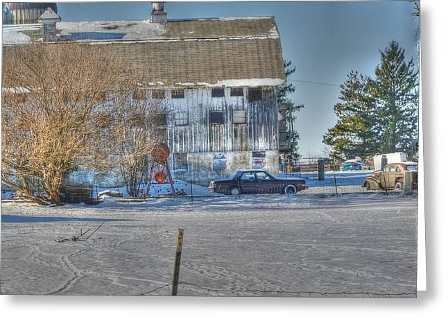 Illinois Barns Greeting Cards - A barn in time Greeting Card by David Bearden