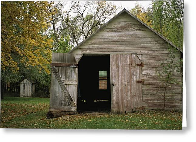A Barn With An Open Door On Waveland Greeting Card