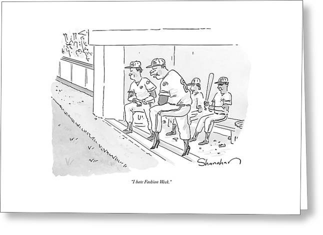 A Baseball Player Leans Out Of The Dugout Greeting Card