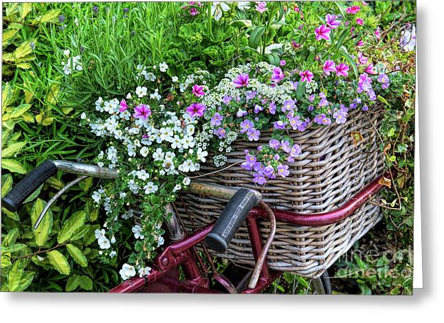 A Basket Of Flowers Greeting Card