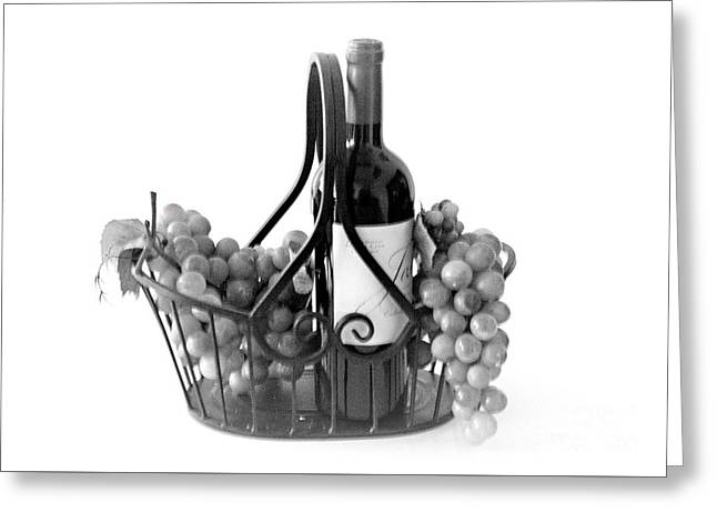 A Basket Of Wine And Grapes Greeting Card