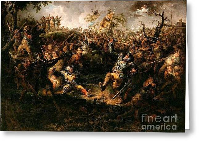 A Battle Scene From Knickerbockers Greeting Card by MotionAge Designs