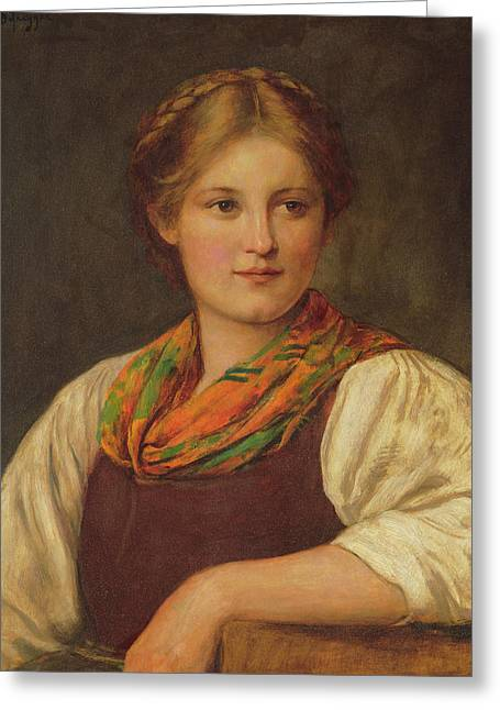 A Bavarian Peasant Girl Greeting Card by Franz von Defregger