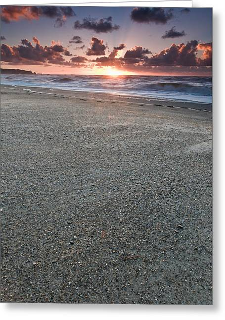 A Beach During Sunset With Glowing Sky Greeting Card by Ulrich Schade