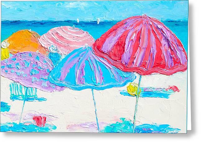 A Beach Scene Greeting Card by Jan Matson