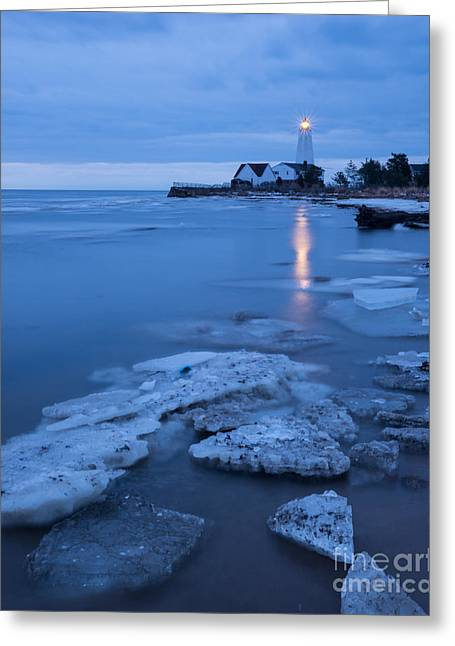 A Beacon In The Night - New England Lighthouse Greeting Card by JG Coleman