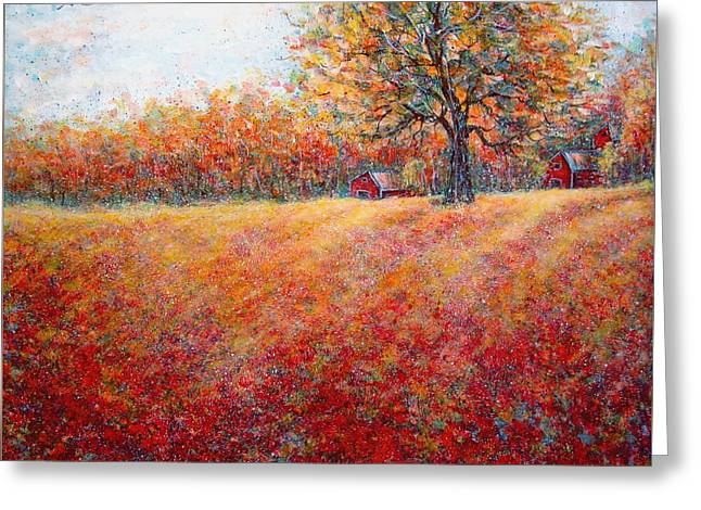 Greeting Card featuring the painting A Beautiful Autumn Day by Natalie Holland