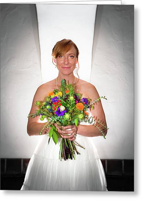 A Beautiful Backlit Bride And Her Bouquet Greeting Card