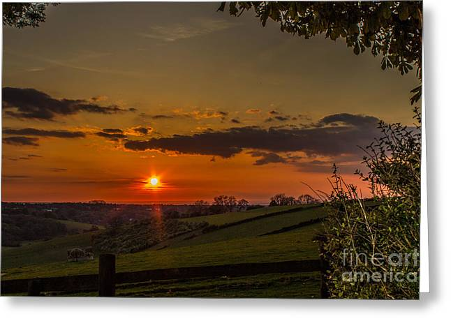 A Beautiful Sunset Over The Surrey Hills Greeting Card