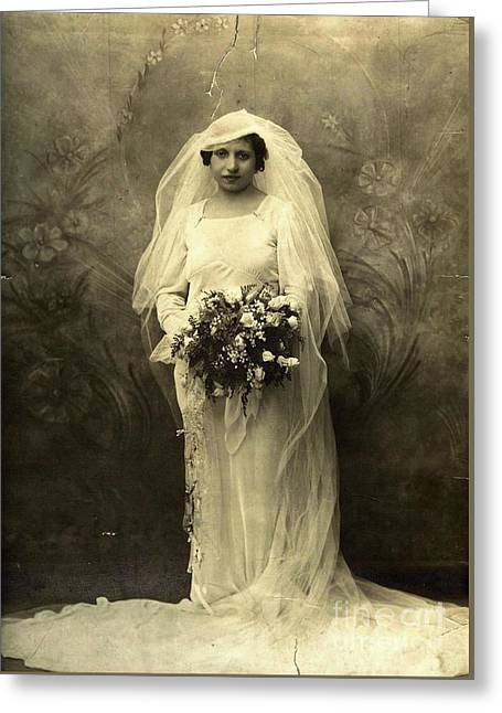A Beautiful Vintage Photo Of Coloured Colored Lady In Her Wedding Dress Greeting Card by R Muirhead Art
