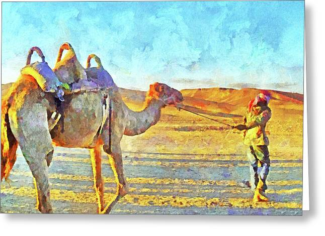 A Bedouin And His Camel Greeting Card