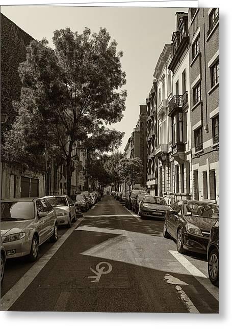 A Belgian Street In Bruxelles Greeting Card